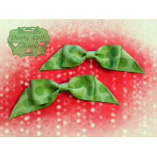 Green Polka Dot folded tail Bow