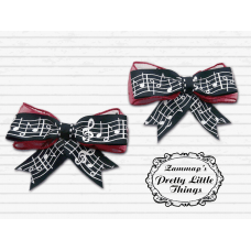 Red Glitter Music note bow