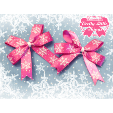 Loopy Pink Snow Flake Bow