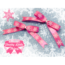 Long Pink Snow Flake Bow
