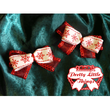 Red picot snowflake bow