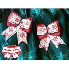 Small Ruflled red snowflake bow