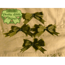 Tiny Green gingham bow