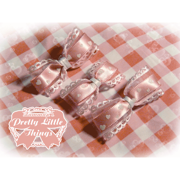 Small Pink Hearts Bow