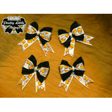 Small White Candy Corn Bow