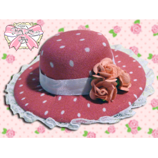 Magenta Polka Dot Paper Rose hat